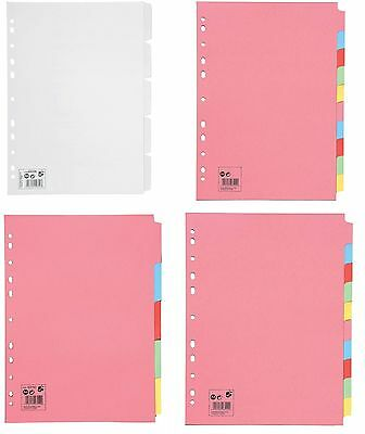 A4 File Dividers Tabbed Multi Punched White Coloured Wide Subject Filing