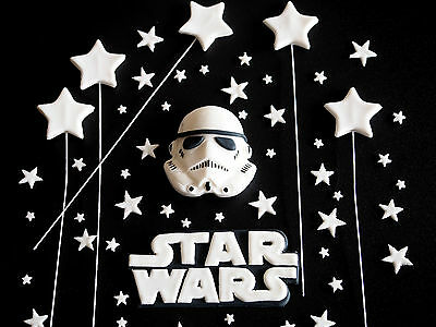 Star Wars EDIBLE Cake Toppers Storm Trooper BIRTHDAY CUPCAKE FONDANT Decorations