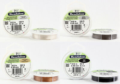 Beadalon 7 Strands Bead Stringing Wire Stainless Steel * Many Colors & Sizes