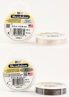Beadalon 19 Strands Bead Stringing Wire Stainless Steel * Many Colors & Sizes