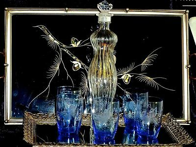 Vintage Pressed Glass Tall Decanter & 5 Whisky  Etched Blue Glasses