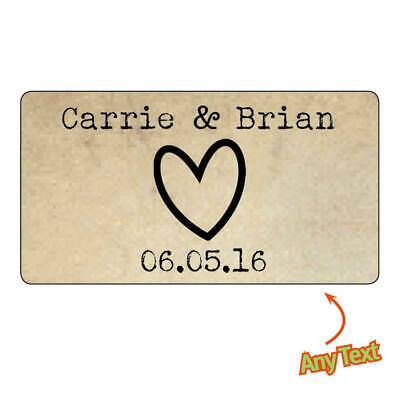 130 x Personalised Mini Wedding Heart Shabby Vintage Rustic Favour Stickers -823