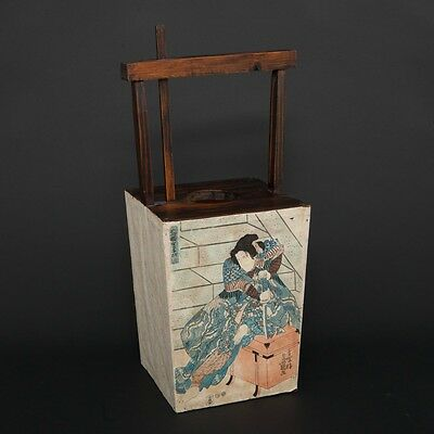 "Japanese Wood & Paper Candle Lantern with Woodblock Prints Samurai  23.5"" Tall"