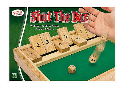 Shut The Box Traditional Family Game Wood Wooden Board Dice Game Part Fun Gift