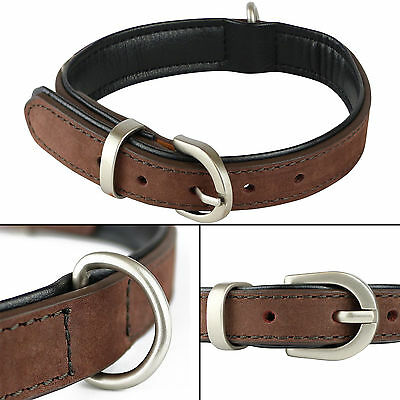 Small Brown/Black Soft Genuine Real Leather Dog/Puppy Pet Collar 32.5cm - 40cm S