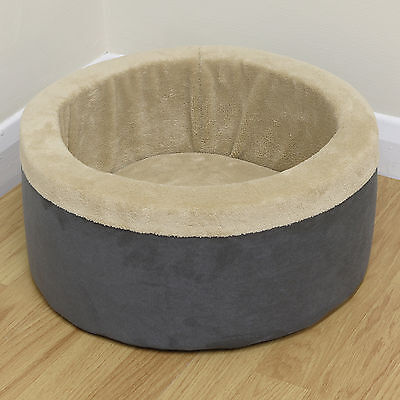 Small Round High Edge Soft Fleece Cat/Kitten Pet Bed Furry/Comfy Foam Cushion