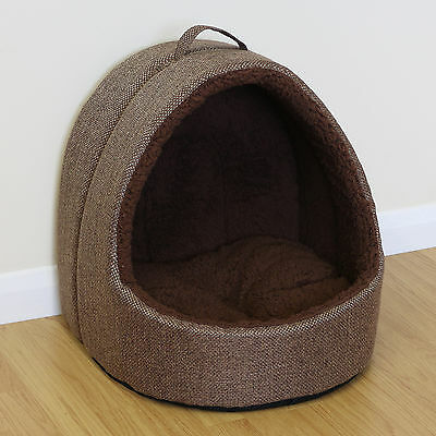 Pet Cat/Kitten Large Soft Brown Fleece Igloo Bed Warm/Snug Cave/House Dog/Puppy