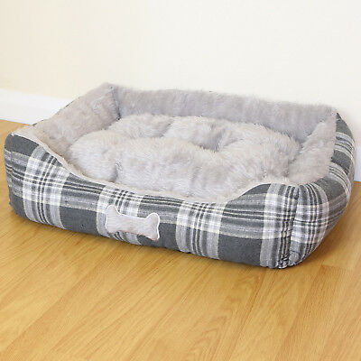 Medium Grey Check Super Soft Luxury Dog/Puppy/Cat Pet Bed Cushion Fur/Fleece M