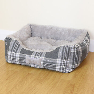 Small Grey Check Super Soft Luxury Dog/Puppy/Cat Pet Bed Cushion Fur/Fleece S
