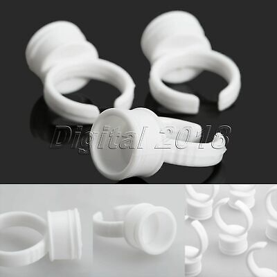 50Pcs Permanent Makeup Tattoo Cup Glue Pigment Ink Extension Holder Finger Ring