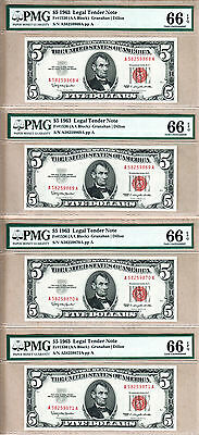 5 Sequentially Serial Numbered Fr#1536 1963 $5 Legal Tender Notes. PMG GEM UNC66
