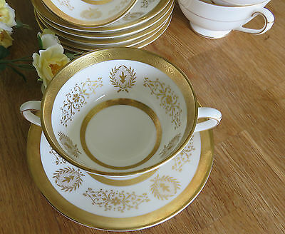 Handled Soup Bowl Coupe & Saucer Coalport Lady Anne Gold White china - several