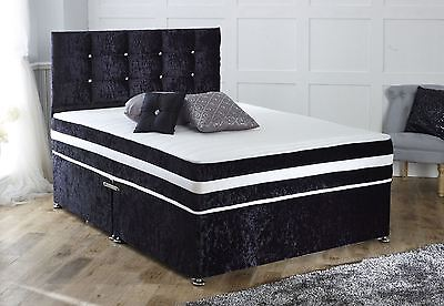 MEMORY CRUSHED VELVET DIVAN BED + MATTRESS + HEADBOARD 3FT 4FT 4FT6 Double 5FT