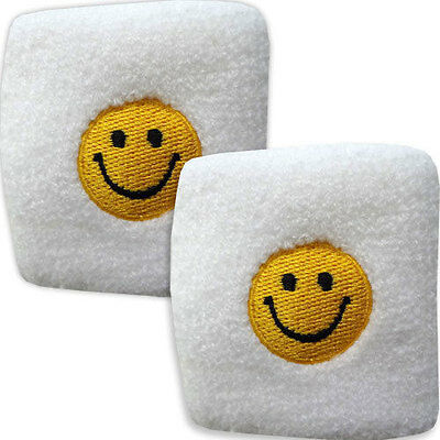 Pair of White Smiley Face Wrist Sweatbands Wristbands Gym Workout Skateboarding