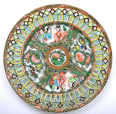 Old Chinese Rose Medallion Reticulated Porcelain Plate Dish