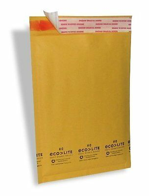 250 #0 6.5x10 Ecolite Kraft Bubble Mailers Padded Envelopes Bag Self Seal CD DVD