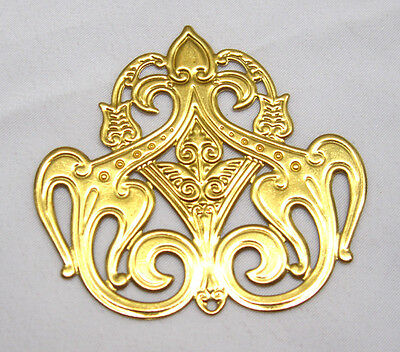 Brass Stampings Filigree Golden Findings for Jewelry Making bf083 (6pcs)