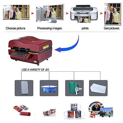 3D Sublimation Heat Press Machine for Phone Cases Mugs Cups Heat Transfer CA NEW