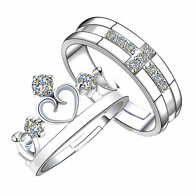 Prince Princess Lover Silver Couple Rings Wedding Band His and Her Promise Rings