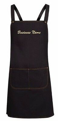 Personalised Cross Back  Denim Bib Apron Embroider your Business Name