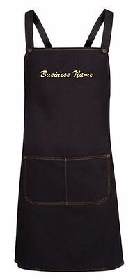 Personalised Cross Back  Denim Bib Apron - Embroider your Business Name