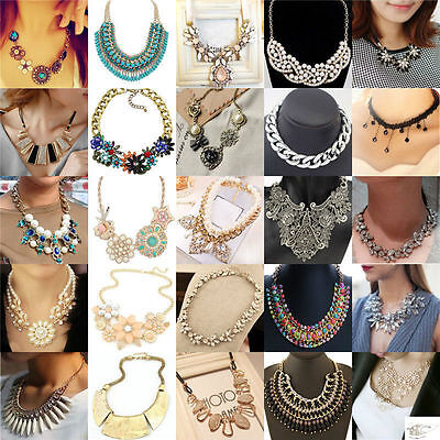 Fashion Charm Bib Statement Chunky Choker Chain Crystal Pendant Necklace Lot
