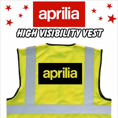 APRILIA Branded MOTORCYCLE High Visibility Hi Viz HV Vest Yellow