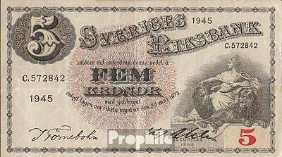 Sweden Pick-number: 33ab (1945) used (III) 1945 5 Kronor