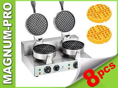 Waffle Maker Double Round Baker Grill Machine Commercial Timer New 2600W