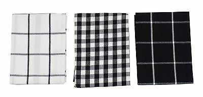 3 X Gingham Check Black White 100% Cotton Kitchen Tea Towels