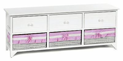 White sideboard chest 3 drawer 3 baskets with pink and white fabric rustic style