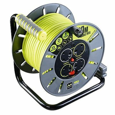 Masterplug OLU50134SL-PX 50m 4 Socket 13 Amp Open Cable Reel with Thermal CutOut