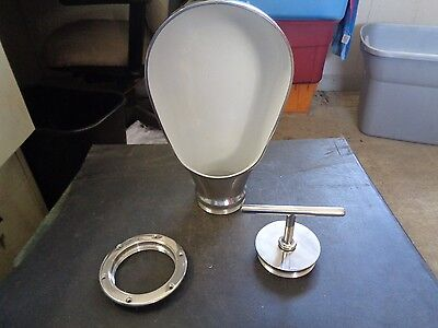 "Large Chrome Plated Bronze  Dorade Cowl Vent   Boat Ship 14"" Tall 7.5""W 4"" Cut O"