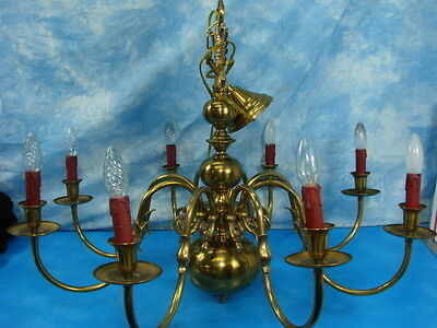 Antique Heavy Bronze Eagle Dutch Chandelier Gesso Falcon Bird Spider Flemish