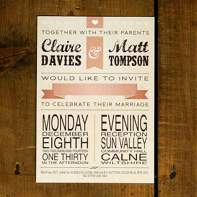 Personalised Vintage Poster Wedding Invitation -Retro 30 50 100 day evening rsvp