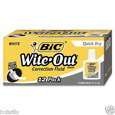 BIC Wite-Out Quick Dry Correction Fluid, 20ml, White, 12ct