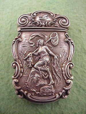 Outstanding Sterling Nude Woman Fishing Vesta w/ Hidden Secret Compartment