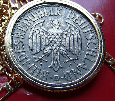 "Germany One Deutschemark Coin Pendant on a 30"" Gold Filled Link Chain"