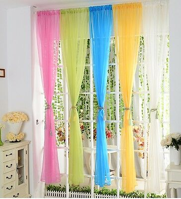1pcs Solid Terylene Tulle Window Screening Sheer Voile Gauze Curtains Decorative