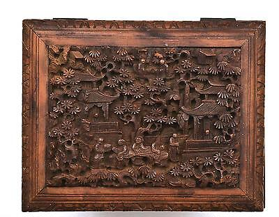 Late 19C Chinese Export Wood Carved Carving Casket Chest Box Figure Figurine