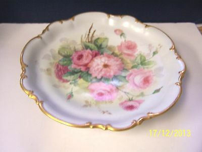 """Hutschenreuther 13"""" Footed Cake Stand * Large pink roses"""