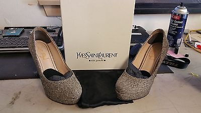 115f8bd0542 YSL Yves Saint Laurent PALAIS 80 Platform Classic Tweed Lame Pumps Shoes 35  sz 5