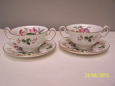 Wedgwood Charnwood ( 2 ) Cream Soup Bowls and ( 2 ) Saucers