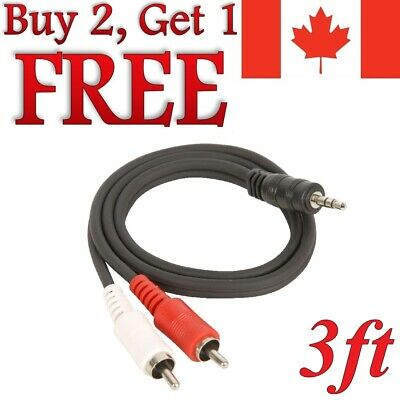 1m 3ft Aux Audio Jack 3.5mm Male to 2 RCA Y Cable Adapter for Ipod MP3