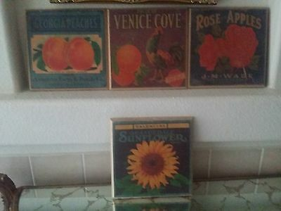 4pc Vintage Repro Produce Art Label Crate Wood Wall Plaques
