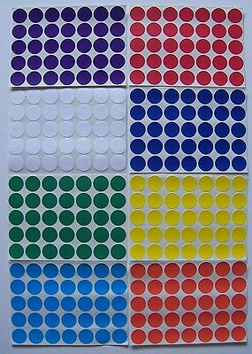 500 Self Adhesive Round 8 Color Labels Dots Price Tags Tabs Stickers 3/4""