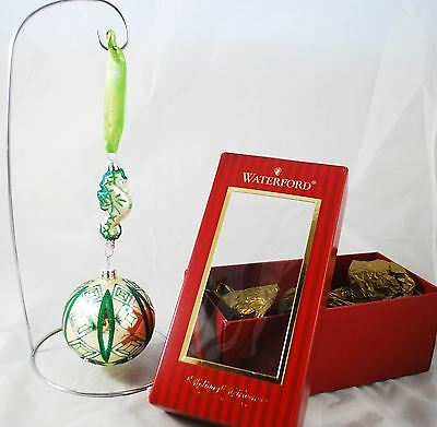 Waterford Holiday Heirlooms Blown Glass Ornament Kilbarry Seahorse Green Ribbon