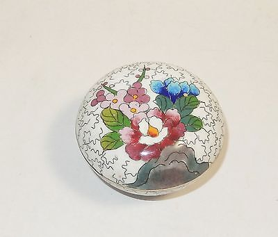 Small White Inaba Floral Design Cloisonne Enamel Box Unsigned