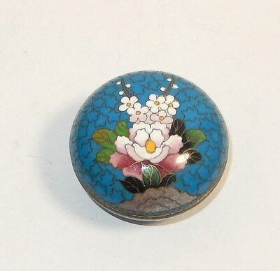 Small Blue Inaba Floral Design Cloisonne Enamel Box Signed