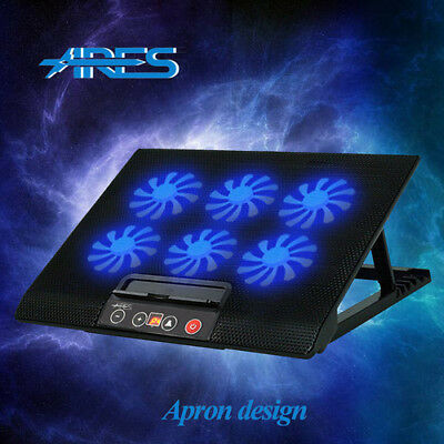 "ARES N8 Laptop Cooler Stand For 15.4"" 15.6"" 17"" inch Cooling Pad 6 Fans Black"